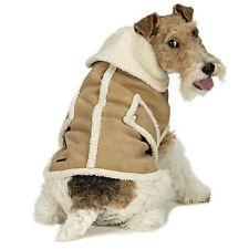 Ethical Pet Faux Shearling Suede & Sherpa Fleece Winter Dog Coat Tan New