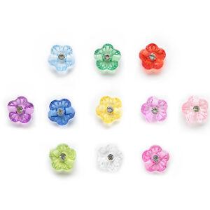 50pcs Shank Acrylic Buttons Flower Sewing Scrapbooking Gift Decor 15mm