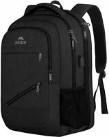 "Matein Men's Black 17"" TSA-Friendly Travel Laptop Backpack School Bag USB Port"