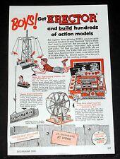 1953 Old Magazine Print Ad, Erector Set, Boys, Build Hundreds Of Action Models!