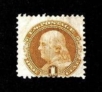 Scott  US # 112 - 1869 Pictorial Issues, Franklin 1 cent; Unused/No Gum; CV=$210