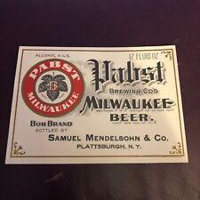 Vintage Pabst Brewing Co's Milwaukee Beer Boh Brand Plattsburgh Mendelsohn Label