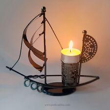 Minimal Modern Ash Black Stylish Decor Boat Reso Tea Taper Candle Holder
