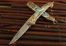 La main de Damas lame en acier Couteau de poche pliant laiton jaune Abalone Gift