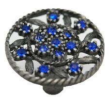 LOT 10 CAROL BEACH KNOBS Jewel Round Cabinet Door Knob Pull Blue & Nickel 1012