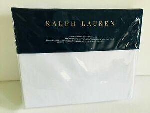 Ralph Lauren WHITE Queen Extra Deep Fitted Sheet 60 x 80 x18  PARROT CAY HALSEY