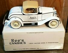 """Vintage See's Candies - 1930 Ford Model """"A"""" by Ertl - Coin Bank with key"""
