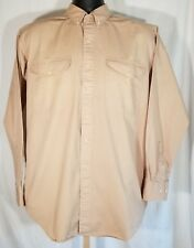 Chaps Ralph Lauren Men M Beige Button Down Camp Shirt Long Slv Cotton Twill Work