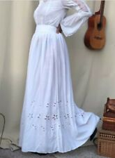 H&M TREND ORGANIC COTTON BRODERIE ANGLAISE MAXI SKIRT GYPSY PRAIRIE TALL SIZE 10