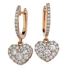 Diamond Heart Drop Earrings 0.90ct F VS in 18ct Rose Gold for Pierced Ears
