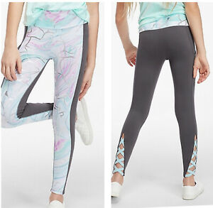 NWT JUSTICE GIRLS MARBLE SHINE STRAPPY BACK LEGGING SIZE 8