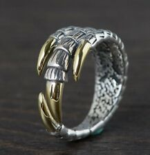 925 Sterling Silver men punk retro dragon claw  ring rings jewelry  S4299