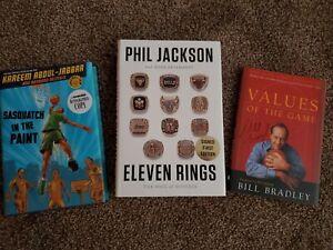 Phil Jackson, Kareem Abdul Jabbar and Bill Bradley Hofer's signed books lot