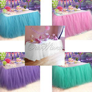 TUTU Tulle Table Skirt Tableware Cover Baby Shower Birthday Wedding Party Decor