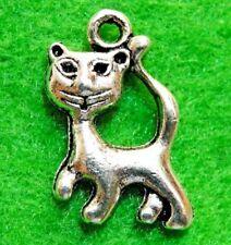10Pcs. Tibetan Silver KITTY CAT Charms Pendants Earring Drops Findings C06