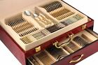 75 Piece Venezia Silverware Set for 12 and Wood Storage Chest - 18/10 Flatware