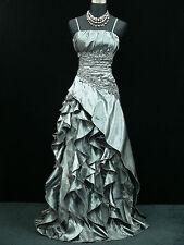Cherlone Grau Hochzeit Ballkleid Brautkleid Abendkleid Brautjungfer Kleid 40