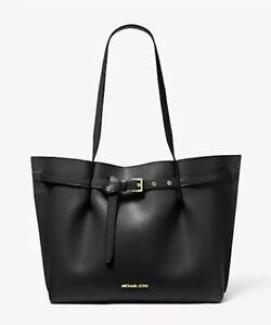 Michael Kors Emilia Large Tote Leather Large Bag Purse Handbag Black NWT $428