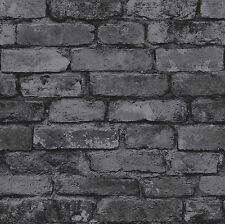 NEW BLACK RUSTIC BRICK EFFECT WALLPAPER - WINDSOR WALLCOVERINGS - FD41489 DECOR