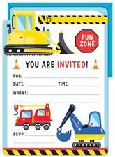 Construction Builder Truck Birthday Party Supplies 16 Invitations + Envelopes