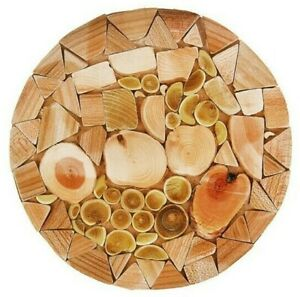 """8"""" Round Wood Trivet Hot Dish Stand with Natural Juniper Scent. Russian Handmade"""