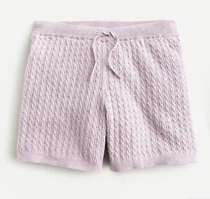 NWT J.Crew Cable-knit Short cotton-cashmere Sweater ~ Sz XS ~ Heather Lilac