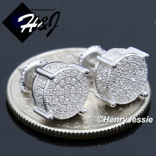 MEN 925 STERLING SILVER 8MM ICY DIAMOND BLING ROUND SCREW BACK STUD EARRING*E142