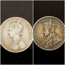 1875 & 1918 INDIA 1 RUPEE ~ TWO COIN LOT ~ VF-XF ORIGINAL PEOBLEM-FREE #473 #534
