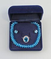 8325300 Garnitur mit türkisblauen Steinen 925er Silber Kette Ohrringe Ring Gr.62
