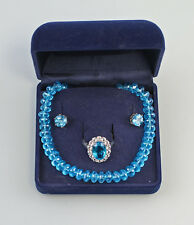 925er Silver Chain Earrings Ring Gr.62 8325300 Set with Turquoise Blue Stones