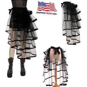 Women Victorian Steampunk Black Bustle Tutu Lace Skirt Gothic Halloween Party