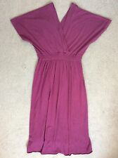 PURPLE CROSS-OVER DRESS WITH ELASTICATED WAISTBAND & CAP SLEEVES - SIZE 1
