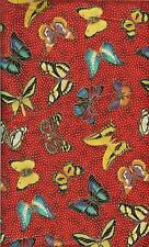 BEAUTIFUL EXOTIC BUTTERFLIES ON GOLD METALLIC on red -FABRIC - BTHY