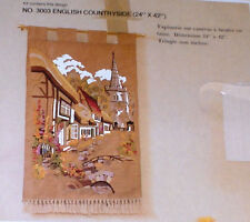 """English Countryside"" Floral Village Street Crewel Kit 24x42"""