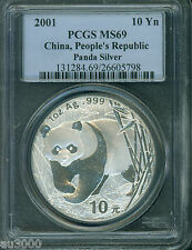 2001 PANDA SILVER COIN 1 Oz. 10Y Yuan 10-Yn CHINA PCGS MS69 STUNNING
