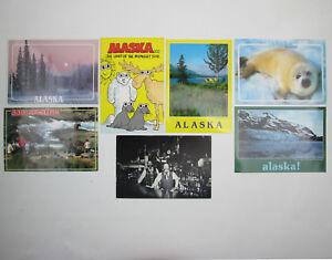 Lot of 7 Alaska Postcards Landscapes Harp Seal McNeil River Red Dog Saloon 1980s