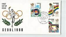 PHILIPPINES 1988  SEOUL KOREA OLYMPIC GAMES IMPERF 3v ON FINE FDC