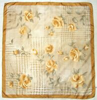 Artist Signed A IVORI Floral ROSES Houndstooth Geometric GOLD Twill Silk Scarf