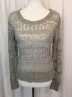 Aeropostale Womens Sweater Juniors Open Crochet Knit Light Grey Size Medium