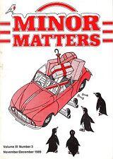 "MORRIS MINOR OWNERS CLUB MAGAZINE - ""MINOR MATTERS"" (November/December 1989)"