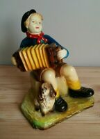 Antique Porcelain Figurine Boy with Concertina and Dog Playing Music Good Cond