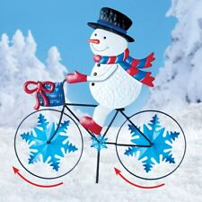 Frosty The Snowman On Bike Christmas Metal Yard Wind Spinner Stake