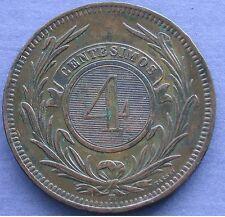 MONETA COIN MONNAIE REPUBLICA ORIENTAL DEL URUGUAY 4 CENTESIMOS 1869 COPPER RAME