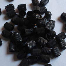 50 pc Black Plastic Valve Stem Cap Lid Air Car Truck Auto Wheels Tire Dust Cover