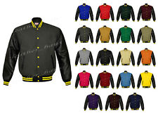 Faux Leather Sleeve Letterman College Varsity Lever Baseball Bomber Wool Jackets