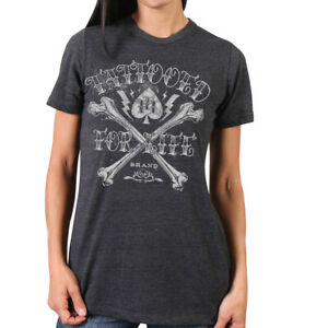 NEW Hot Leathers Women's Tattooed For Life Charcoal Grey T-Shirt XL