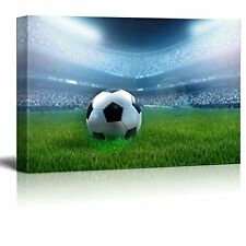 Framed Football Soccer on Field Sport Modern Wall Art Picture Canvas Print Decor
