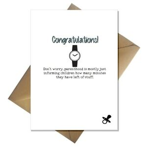 Funny New Baby Card - Congratulations parenting is easy! pregnancy boy or girl