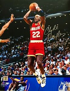 Clyde Drexler Autographed Houston Rockets 16x20 Photo Tri Star Authenticated