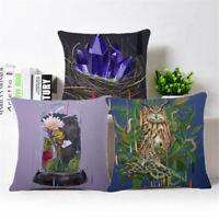 Flower Bird Pattern Cotton Linen Pillow Case Sofa Throw Cushion Cover Home Decor